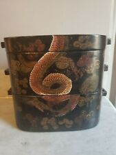 Antique Chinese Lacquer Two-Tier Food Container