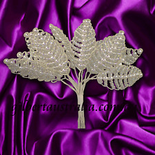 Craft Flowers - 12 Pearl & Bead Leaf - White