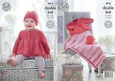 "King Cole DK  Knitting Pattern 4912: Easy Knit Jacket,Hat & Blanket,14""-22"""