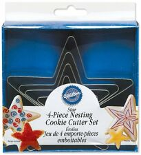 Wilton 4 Pcs NESTING STARS Cookies Metal Cutter Party Sky Fun Baking Decorating