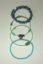 FOUR LITTLE GIRLS CHILD SIZE MEMORY WIRE & STRETCH BAND BEADED BRACELETS