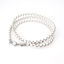 Womens Cream White Braided Leather Straps Bracelet Surfer Wristband NEW