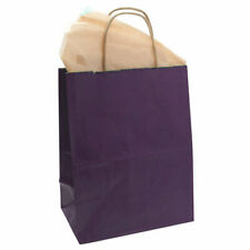 "50 Purple Paper Bags Tinted Kraft Shopping Kraft Paper Bag with Handle 8""x10""H"