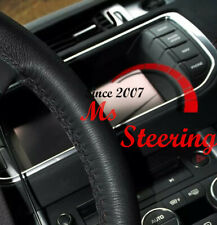 LEATHER STEERING WHEEL COVER FOR LAND ROVER FREELANDER2 WITH BLACK DOUBLE STITCH