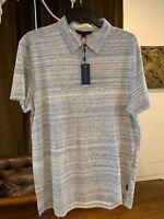 NWT John Varvatos Star USA Large Men's 4 Button Short Sleeve Polo Grey/White