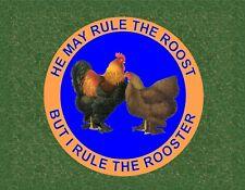 METAL MAGNET Rooster Rule Roost Hen I Rule Rooster Humor Chicken Bird MAGNET