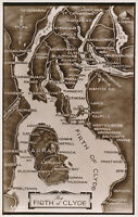 PC75711 The Firth of Clyde. A Map. Valentine. RP