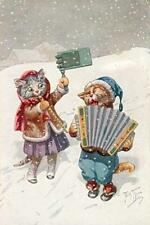 CATS, CHATS, KATZEN, PLAYING MUSIC, SNOW, ACCORDION, BY THIELE, MAGNET