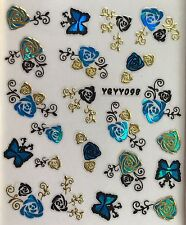 Nail Art 3D Decal Stickers Blue & Gold Roses & Butterflies YGYY098 YGYY115
