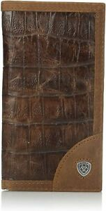 Ariat Mens Gator Print Brown Leather Rodeo Wallet Checkbook Cover