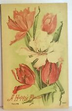 PostCard A Happy Easter Tulips Floral Antique Stamped Posted 4-13-1911 Vintage