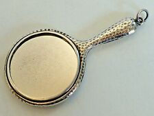"""ENGLISH STERLING SILVER MINIATURE HAND MIRROR W/ CHATELAINE RING, """"CS*FS"""" 1904"""