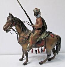 Franz Bergman Arab Austrian Bronze Painted Vienna with Rifle on Horse