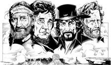 The Highwaymen 2 Johnny Cash, Willie Nelson, Waylon Caricature Sticker or Magnet