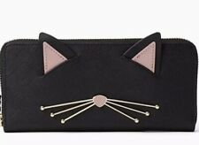 KATE SPADE NEW YORK Cats Meow Black Leather Lindsey Zip Around Wallet Clutch NWT