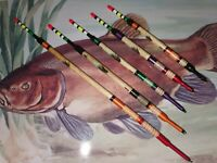 Handmade Scorched Reed Waggler Fishing Floats. Set of 5
