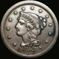 1853 Braided Hair Large Cent Type Penny --- DATE TOUCHES LIBERTY --- #V702