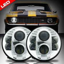 LED Diamond Cut Chrome Universal 7 Inch Round Headlights for Ford Mustang 65-78
