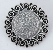 Vintage sterling Large Mexico, silver Taxco Mayan calendar pin, brooch & pendant