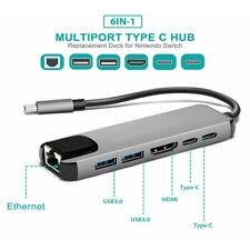 6 in 1 USB C Hub USB Typ C 3,1 Adapter Dock w/ 4K   PD Ladung RJ45 2x USB 3,0