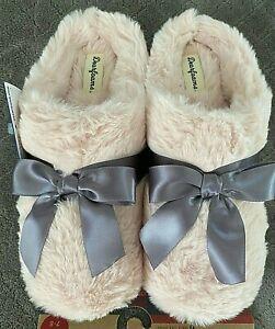 NEW Dearfoams Slippers Women's Pink Sexy Furry Fur M L XL 7 8 9 10 11 Close Toe