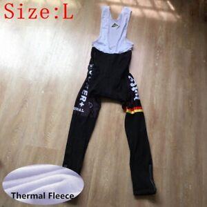 Mens Cycling bib pants Winter Thermal Fleece Bike bib Tights Bicycle Trousers L
