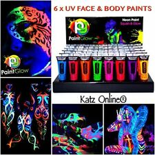 Katz 6 x UV Glow Neon Face & Body Paint 10ml SET of 6 - Fluorescent (WAX BASED)