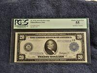 "Fr.971b 1914 FRN $20 NEW YORK WHITE/MELLON ""TYPE B"" PCGS 55 CHOICE ABOUT NEW"