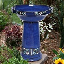 Blue Ceramic Solar Birdbath Fountain Outdoor Garden Water Feature Patio Basin