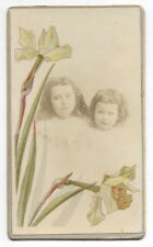 PHOTO ANCIENNE CDV Portrait Fleurs rehaussées coloriées 1900 Enfant Fantaisie