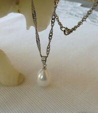 """Tear Drop Shell Pearl Pendant and Shimmering Stainless Steel 18"""" Necklace"""