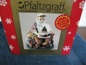 PFALTZGRAFF CHRISTMAS HERITAGE SANTA  HOLDING SNOW GLOBE  MUSICAL NEW IN BOX