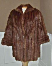 Vtg NATURAL MINK FUR Stroller Coat  Jacket womens sz M 10/12 cuffed sleeves L