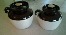 Set of 2 Stoneware Bean Pot Crocks Jars Loop Handles & Lids Vintage Pottery USA