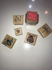 Rubber Stamp on Wood Block lot of 6 Stampin Up Stampcraft Insects Lady bug Bee