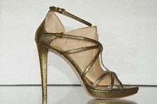 Miu Miu Prada Stingray Gold Black Heels Platform Strappy Sandals Shoes 40 9.5