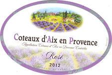 Etiquette de vin - Coteaux d'Aix en Provence - Rosé - 2012