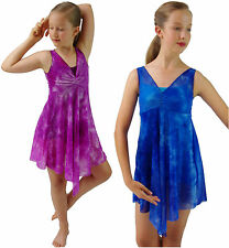 Blue Purple Tie-Dye Modern Dance Lyrical Ballet Unitard Dress Costume 6 8 10 12