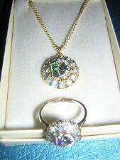 Set= Necklace Ring Rebekah ODD FELLOWS 10k gold fill vintage >>3,4,5,6,9,10,11