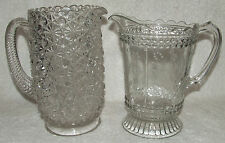 2 ANTIQUE 1800'S EAPG PRESSED GLASS WATER PITCHER DAISY & BUTTON BLACKLIGHT GLOW