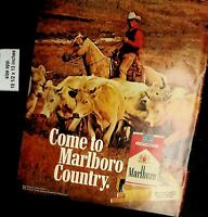 1972 Come to Marlboro Country Cowboy Cattle Cigarettes Vintage Print Ad 5433