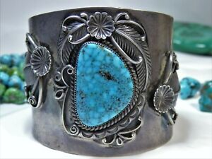 RARE Old NAVAJO Henry Harvey CANDELARIA TURQUOISE STERLING Silver 91g CUFF snd🌸