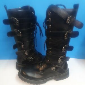 American Legend Rider Leather Skull Gothic Boots Size 10 Euro 44