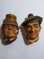 "2 Vtg Bossons Chalkware Head ""Paddy, Jock""The Irishman 1969 England Hang 5 1/4"""