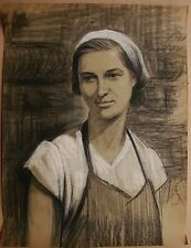 Russian Ukrainian Soviet Painting portrait realism working woman girl 1950s