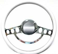 Chrome & White Steering Wheel for Ford Hot Rod or Truck w/Aftermarket GM Column