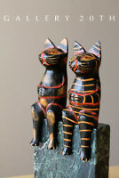 2 CUTE! MEXICAN FOLK ART CAT SCULPTURES! VTG ART WOOD PAIR POLYCHROME BLACK 50'S