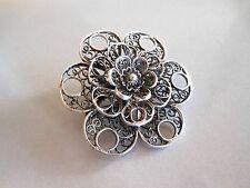 Filigree Flower Brooch Pin Vintage Ornate Sterling Silver