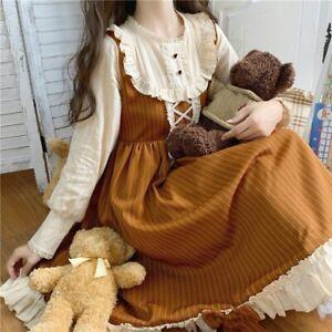 Womens Girls Lolita Dress Vintage Ruffles Puff Sleeve Cosplay Retro Fairy Sweet