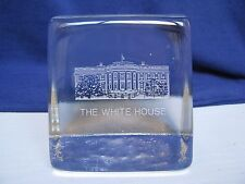 The White House Etched Clear Glass Paperweight Book End Usa Souvenir Political